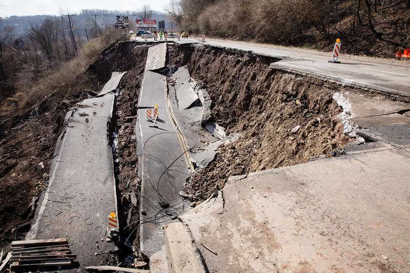A landslide in East Pittsburgh on April 7 destroyed a portion of Route 30 and displaced some residents. Three weeks later, the borough is picking up the pieces.