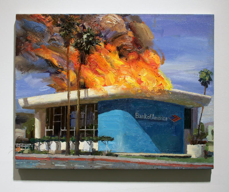 "Alex Schaefer's painting ""Bank of America Palm Springs"" is in ""Marx@200"""