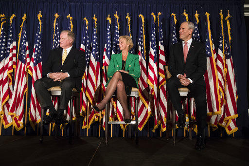 Gubernatorial candidates Scott Wagner (left), Laura Ellsworth (center) and Paul Mango (right) take part in a forum on Thursday, Oct. 19, 2017.