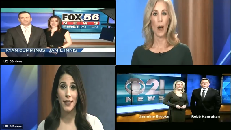 3 Pennsylvania news stations have aired 4 versions of Sinclair's promo. The newscasters are (clockwise, from left to right) WOLF's Ryan Cummins and Jamie Innis, WJAC's Jen Johnson, WHP's Robb Hanrahan and Jasmine Brooks, & WHP's Jessica Guay.