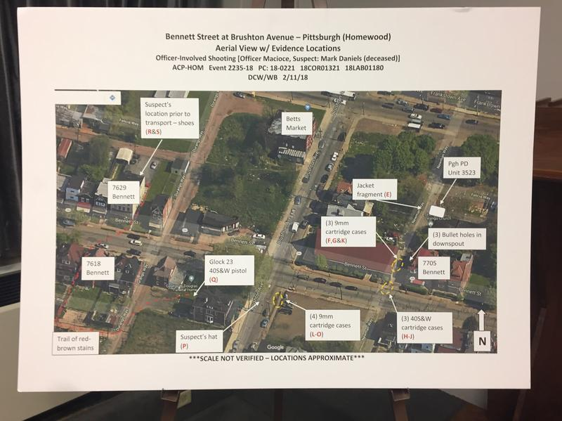 A map of where the shooting events occured the night of February 11, 2018 in south Homewood.