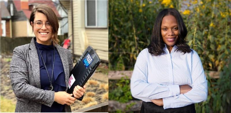 Sara Innamorato, left, and Summer Lee, right, are both first-time candidates for state representative. They bested incumbents Dom Costa and Paul Costa in the May 15 Pennsylvania primary.