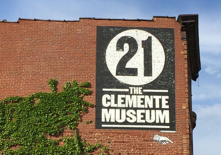 Shaknaitis' hand painted sign for the Roberto Clemente Museum.