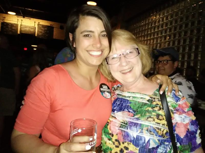 Sara Innamorato poses with supporter Jann Chirdon of Glenshaw at her victory party, at Hitchhiker Brewing in Sharpsburg.