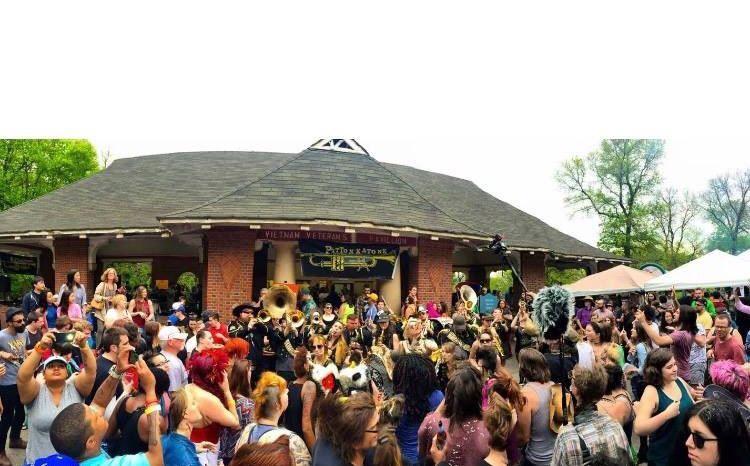 A Pittonkatonk crowd gets into it at Schenley Park's Vietnam Veterans Pavilion
