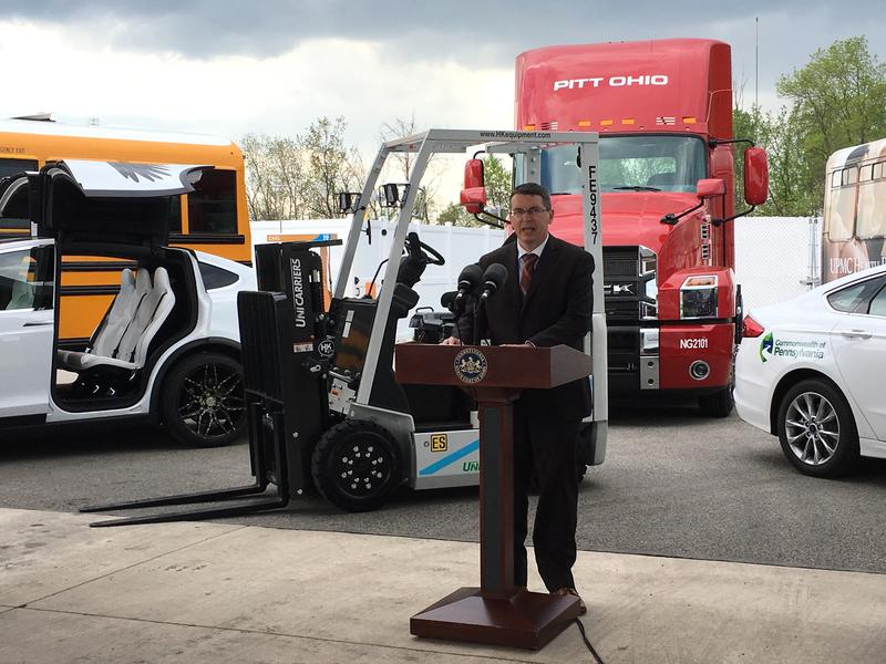 "Patrick McDonnell, secretary of the Department of Environmental Protection, announces ""Driving PA Forward,"" an initiative to use Volkswagen settlement money for cleaner vehicles and engines. He and other state and local officials, as well as business lead"
