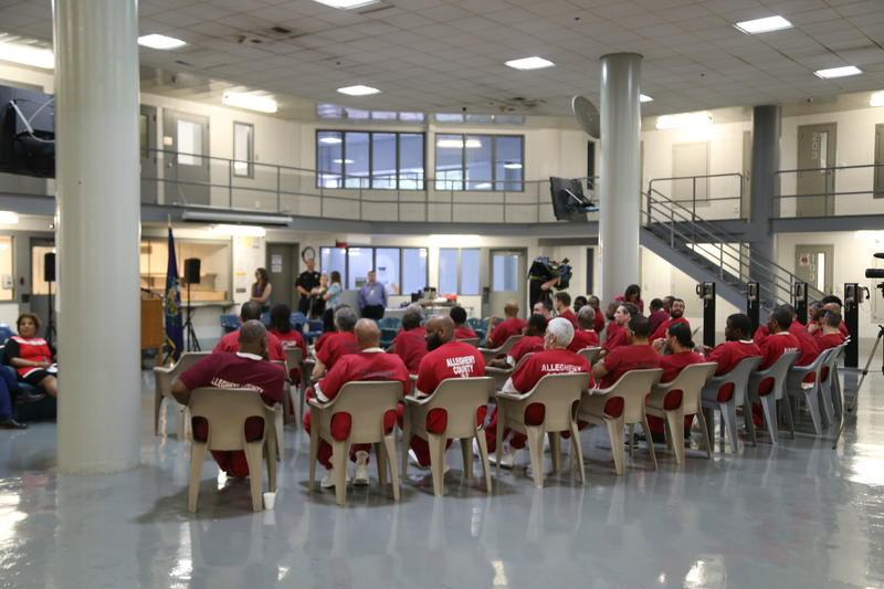 Allegheny County Jail inmates, who are also veterans, prepare for a press conference on the veteran pod on Monday, May 14, 2018.