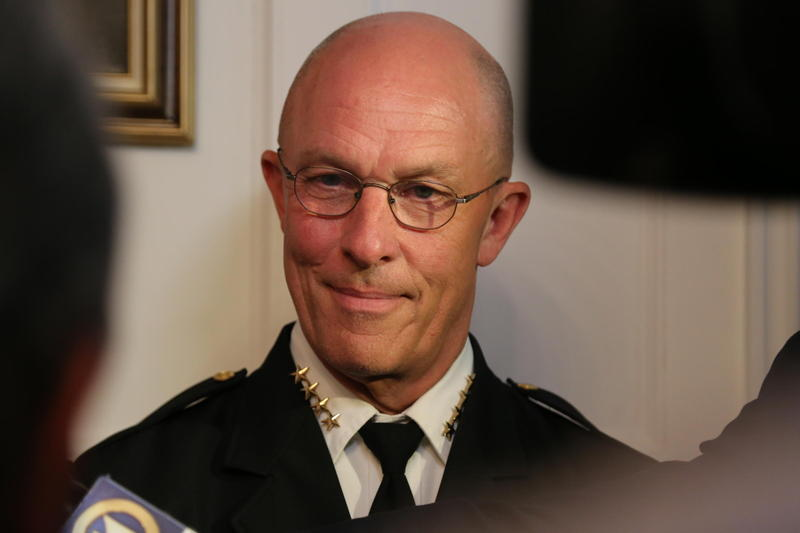 Former Pittsburgh Police Chief Cameron McLay at a press conference in 2016. McLay led the city's department for two years and has recently been named as a top contender to lead Seattle's police force.