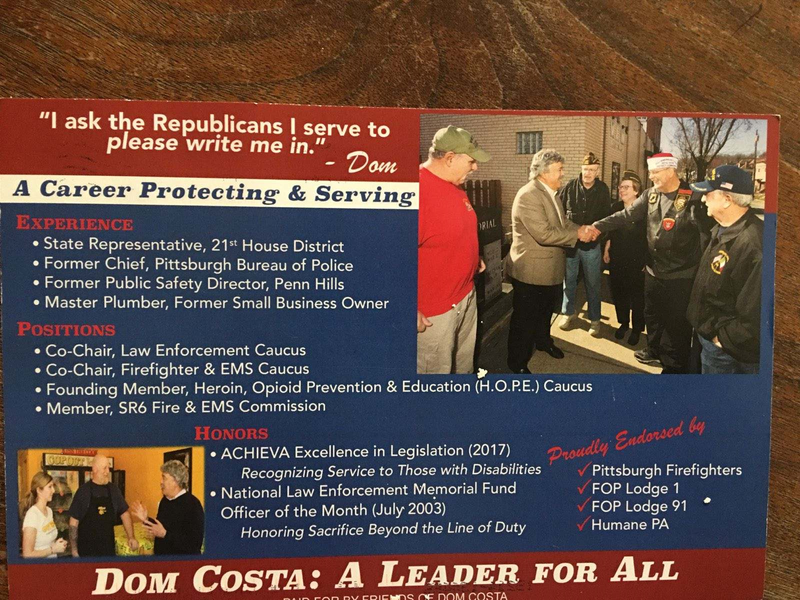 art of the mailing Dom Costa is sending to Republicans