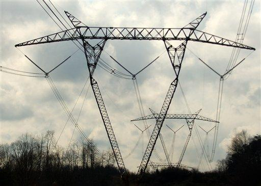 High voltage power lines from American Electric Power Company run through West Virginia.