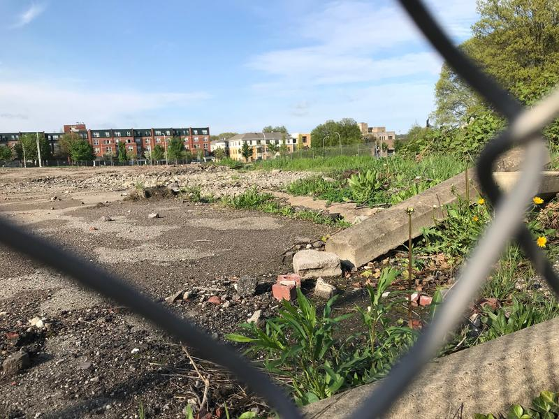 The Penn Plaza apartment complex was torn down in June 2017 to make way for a commercial and retail development. Advocates are urging the city to use the power of eminent domain to rededicate the land to affordable housing.