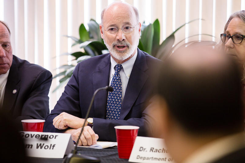 Gov. Tom Wolf speaking at an Opioid Command Center on the Road event on May 2, 2018.