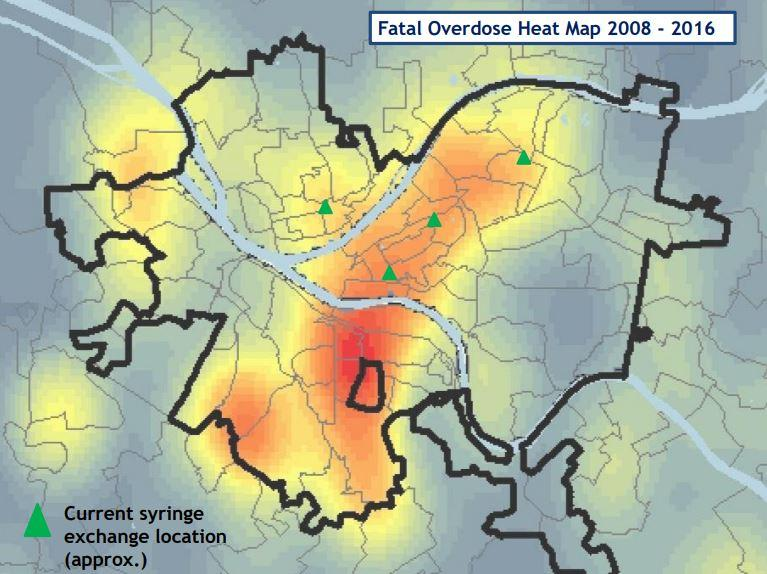 A heat map shows where fatal overdoses are concentrated in Pittsburgh.