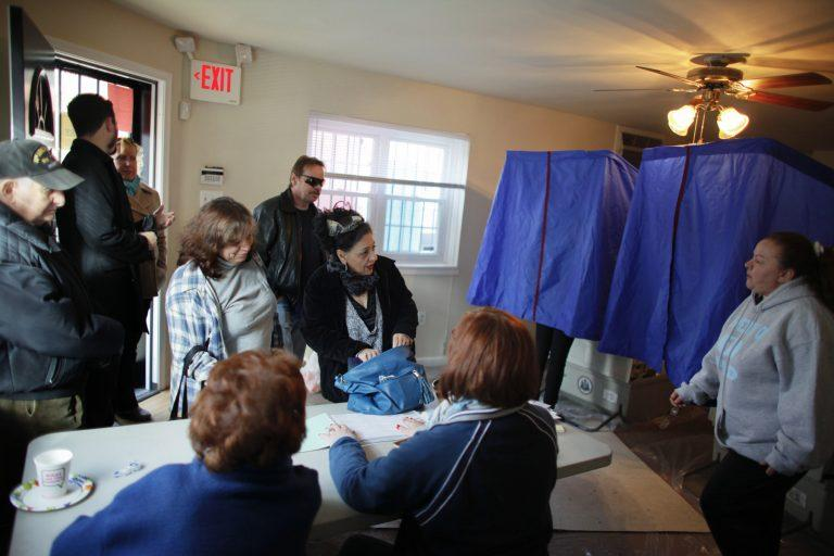 People cast their votes at a polling place in South Philadelphia.
