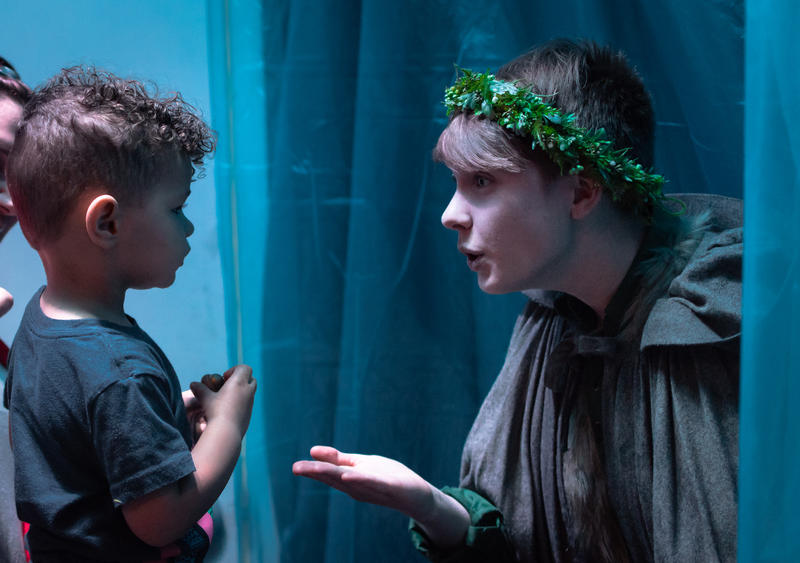 Prince Oisin, played by Grayson Rumsey, talks to a visitor to The Forest of Everywhere