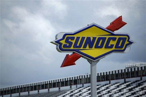 A Sunoco sign is shown near the front stretch grandstand during a test session for Sunday's Pocono IndyCar 400 auto race.