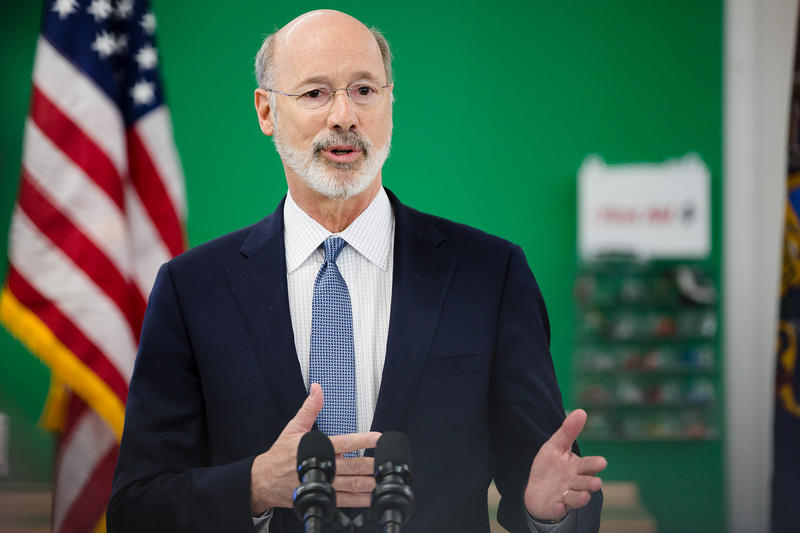Gov. Tom Wolf at an event to announce the launch of a fellowship program connecting students and manufacturers on May 1, 2018.