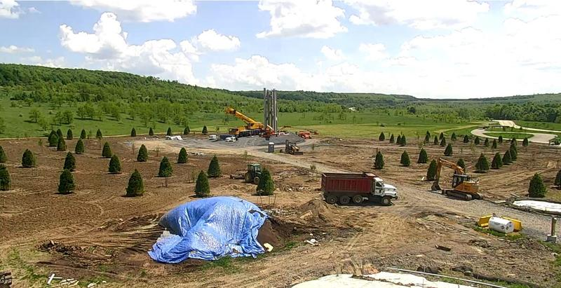 Walls begin to take shape on the Tower of Voices at the Flight 93 National Memorial on Friday, May 25, 2018.