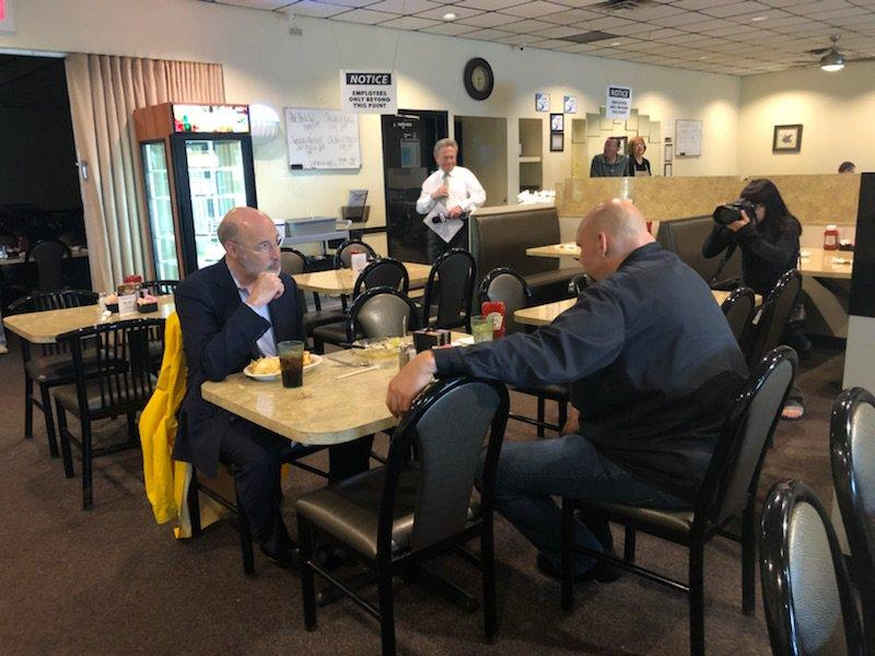 "On Wednesday, May 16, 2018, Gov. Tom Wolf tweeted a photo of himself sharing a meal in York County with Braddock Mayor John Fetterman, who won the Democratic primary for lieutenant governor on Tuesday. Wolf wrote he's ""excited to have him on the ticket!"""
