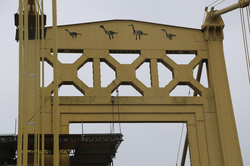 One of the towers on the 10th Street Bridge features paintings of geese, visible heading from Downtown toward the South Side, which some fear will be painted over as part of the bridge's restoration work.