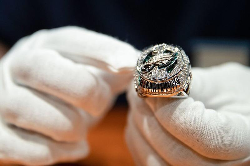 The Philadelphia Eagles Super Bowl ring is made of 10-karat white gold, with 219 diamonds and 17 rare green sapphires.
