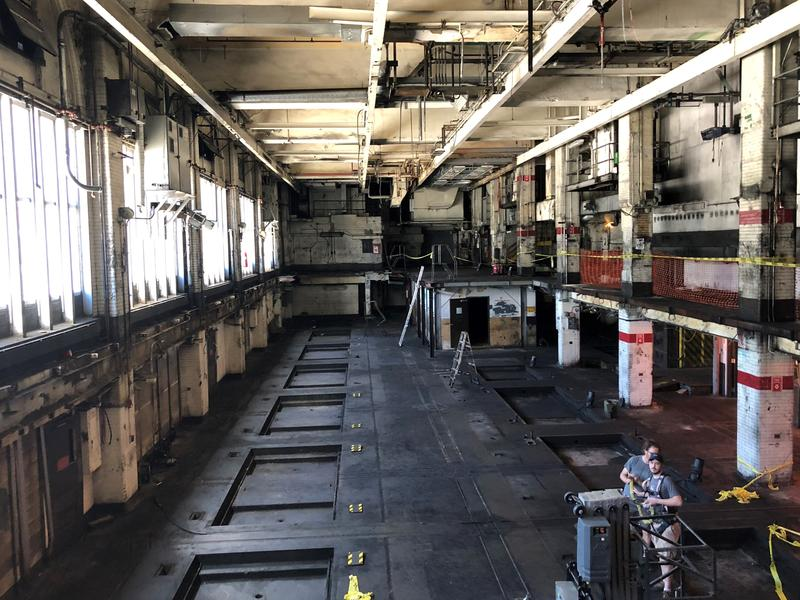 The interior of the former Pittsburgh Post-Gazette printing pressroom where several two-story presses once stood on Friday, June 15, 2018. The site has planned renovation by a new nonprofit into a multi-use facility focused on advocating for free speech.