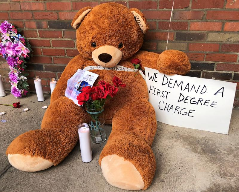 A memorial for Antwon Rose Jr. assembled outside the East Pittsburgh borough municipal building by protesters at a demonstration on Thursday, June 28, 2018.