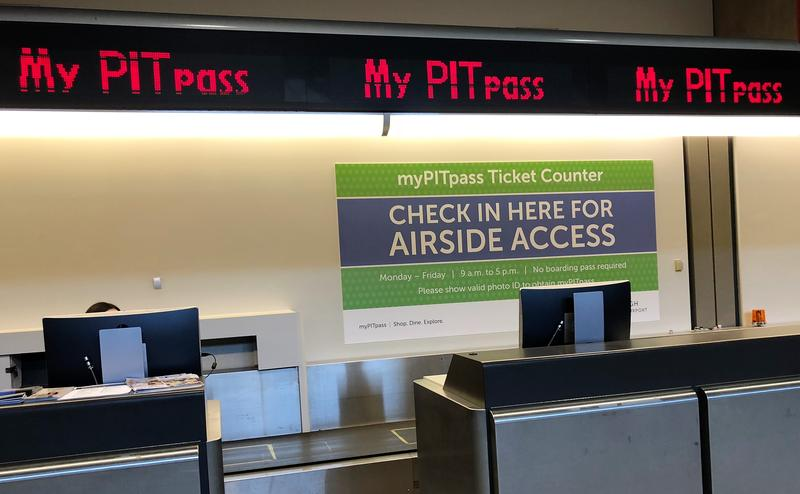 On the third floor of Pittsburgh International Airport, non-ticketed visitors can receive a myPITpass by showing their ID and passing through security to airside. The program began on Sept. 5, 2017.