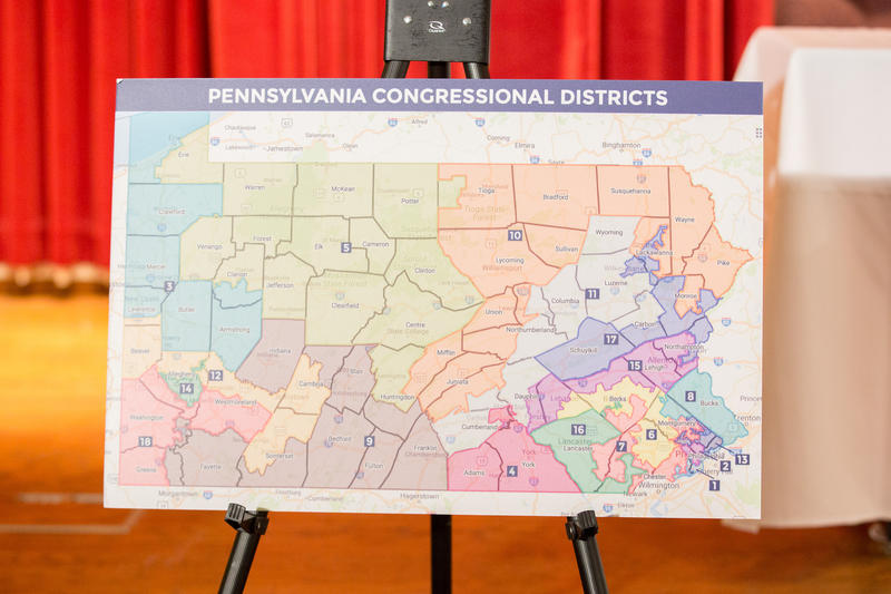 A map features Pennsylvania's congressional districts at a non-partisan redistricting listening session hosted by Gov. Tom Wolf on Jan 31, 2018.