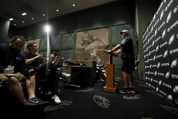 Philadelphia Eagles head coach Doug Pederson speaks to the media before practice at the NFL football team's facility, Wednesday, June 6, 2018, in Philadelphia.