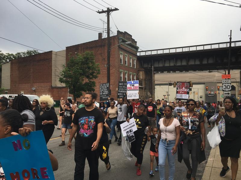 Protesters gathered Thursday night in East Pittsburgh, eventually marching toward the Parkway East, closing the interstate for more than five hours.
