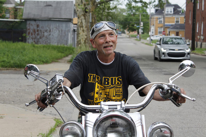 A motorcyclist photographed in Homewood for Faces of Pittsburgh