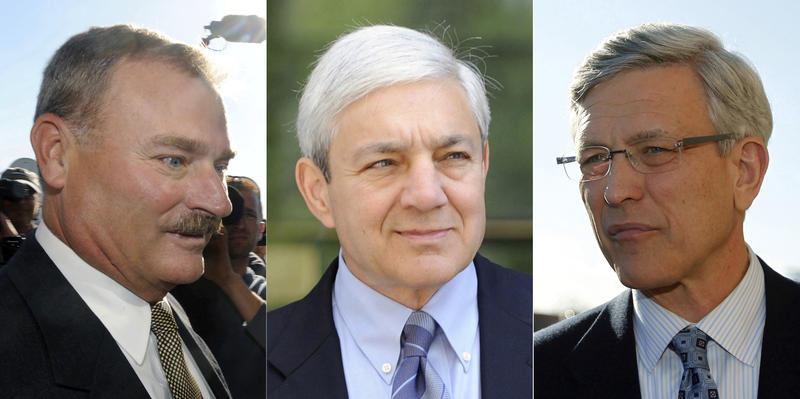 Former Penn State vice president Gary Schultz, left, former Penn State athletic director Tim Curley, right, and former Penn State President Graham Spanier, center, photographed separately in Harrisburg, Pa.