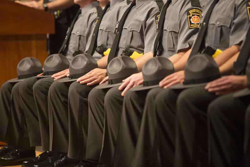 Pennsylvania State Police troopers at the 142nd cadet class graduation ceremony on Sept. 4, 2015 in Harrisburg, Pa.