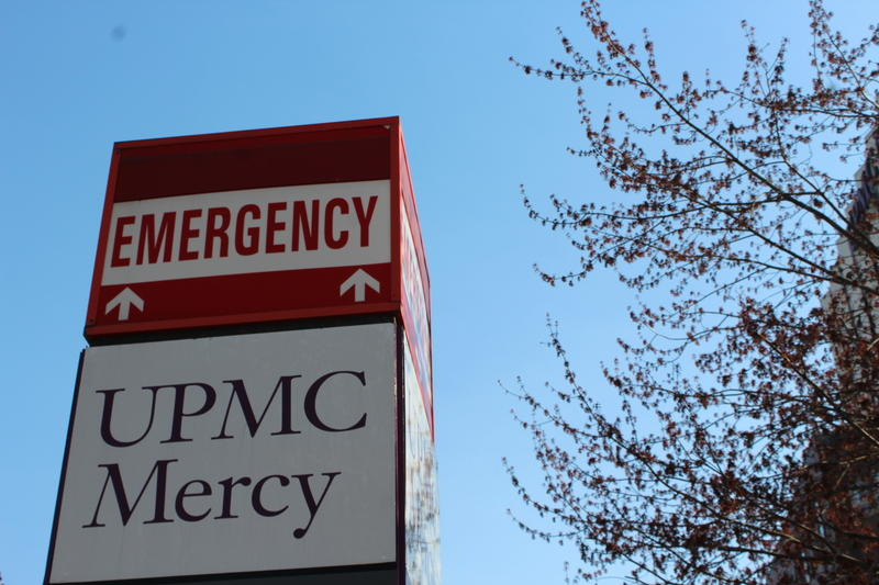 The emergency room entrance at UPMC Mercy in Pittsburgh's Uptown neighborhood on April 13, 2018.