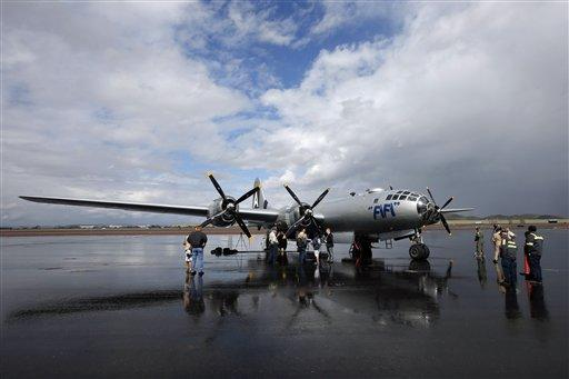 "Pictured is the Commemorative Air Force's World War II-era B-29 Superfortress bomber plane ""FIFI."""
