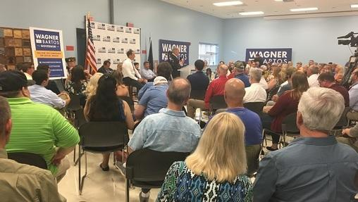 Wagner and running mate Jeff Bartos took questions at a town hall in Hampden Township on Thursday, July 5, 2018.