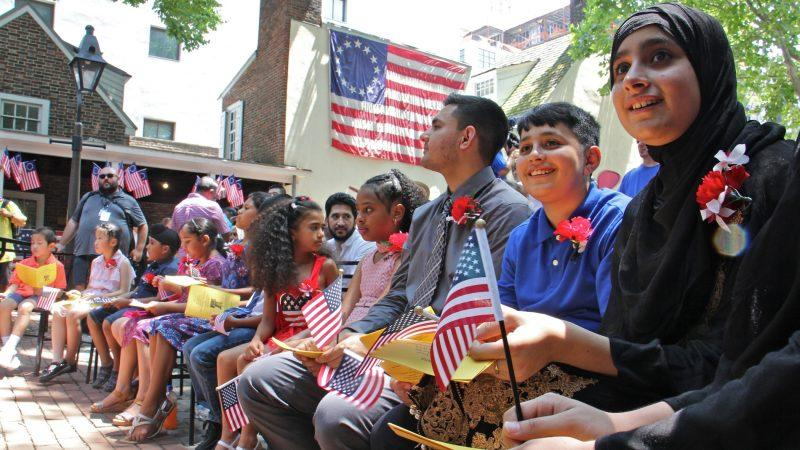 Thirteen children from seven countries took the Oath of Allegiance to become U.S. citizens during a naturalization ceremony in Philadelphia.
