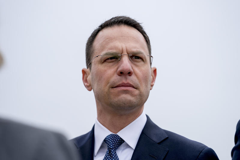 Pennsylvania Attorney General Josh Shapiro attends a news conference near the White House, Monday, Feb. 26, 2018 in Washington