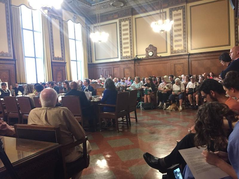 A packed City Council Chambers for a hearing on a proposed UPMC hospital in Uptown on Tuesday, July 17, 2018.
