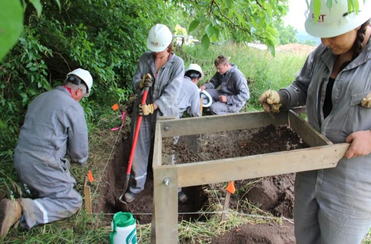 Archaeology students from West Virginia University at a dig near a shale gas site in Marianna, Pa.