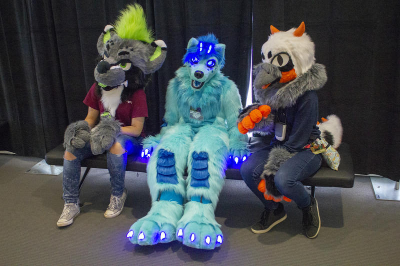 Midnight Woodland [center], a wolf-dragon hybrid, is new to the convention, attending for the first time. The lights on the suit are controlled with Bluetooth and can be switched to any color.