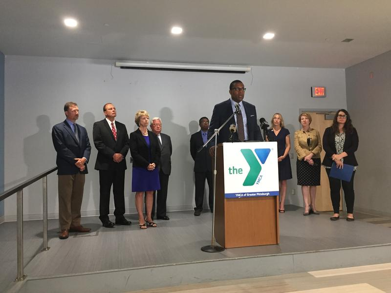 YMCA of Greater Pittsburgh President and CEO Kevin Bolding addresses reporters at a press conference on Tuesday, July 10, 2018.