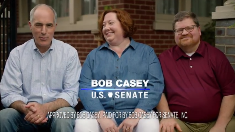 A screen grab from Bob Casey's U.S. Senate ad on YouTube.