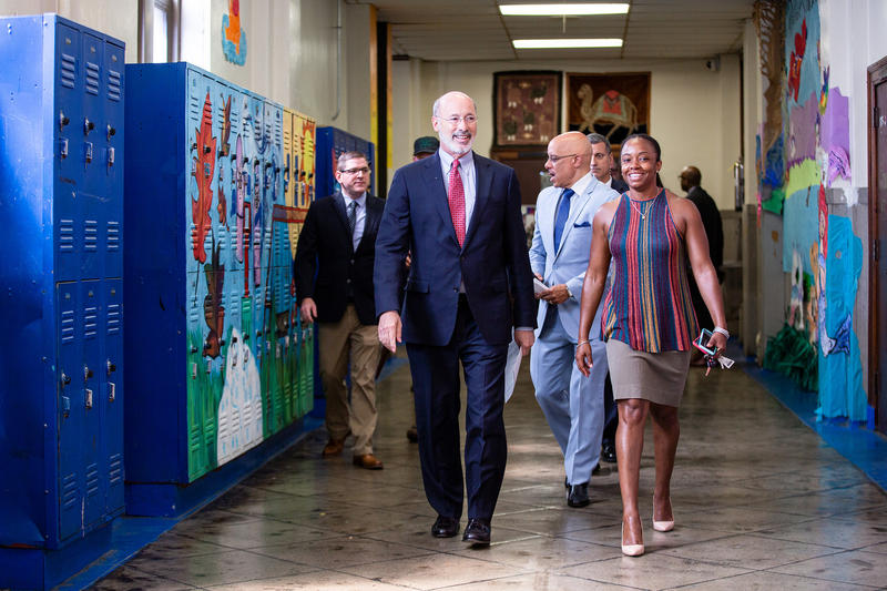 Gov. Tom Wolf and Philadelphia officials announce $15.6 million to improve city schools.
