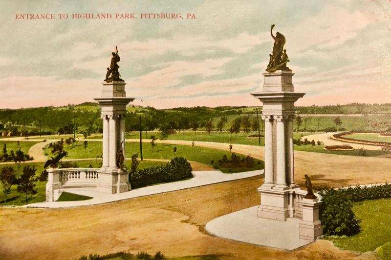 "A postcard featuring the twin gate piers of Pittsburgh's Highland Park. The statues are officially titled ""Welcome."""