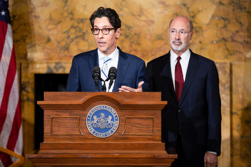 """Pennsylvania Treasurer Joe Torsella and Governor Tom Wolf address a crowd about the $22 million deposit in the state's """"rainy day fund."""""""