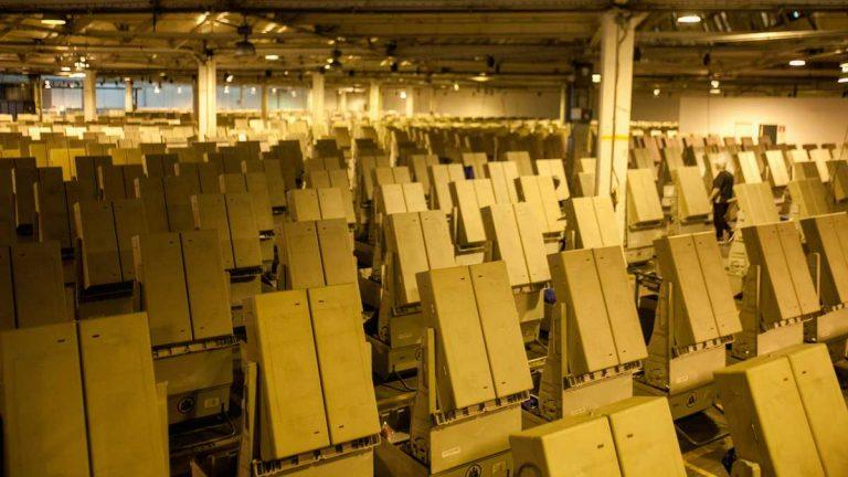 Voting machines at the Office of the City Commissioner's warehouse.
