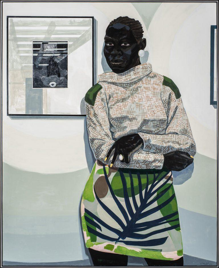 "Kerry James Marshall's painting ""Untitled (Gallery)"" is among the museum's newest acquisitions in the exhibit."