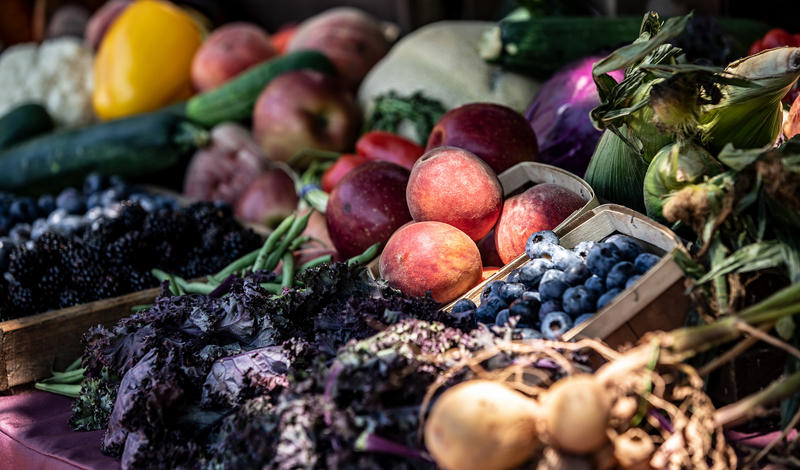 """Produce on display at the """"Second Sunday"""" family eating from the farm event at the Governor's Residence on July 8, 2018."""
